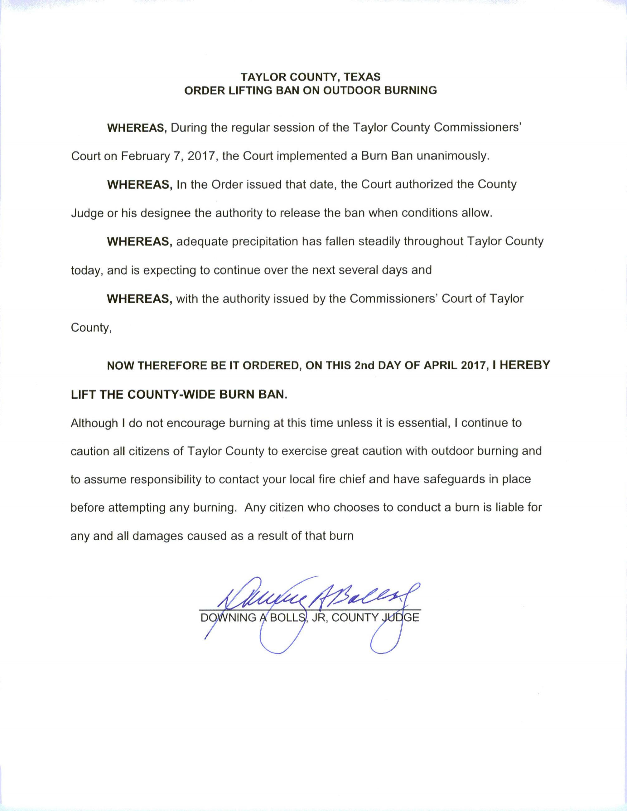 ORDER LIFTING BURN BAN APRIL 2, 2017